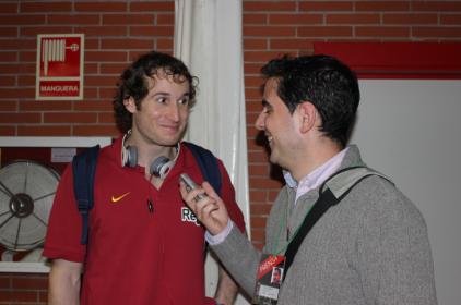 Con Marcelinho Huertas (partido Unicaja - FCB)